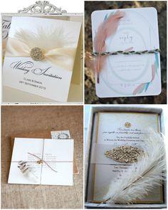20er Jahre Hochzeit mit Federn dekoriert Einladungskarten Hochzeit Großartige Vintage Hochzeit mit dekorierten Federn, Quasten und Spitzen