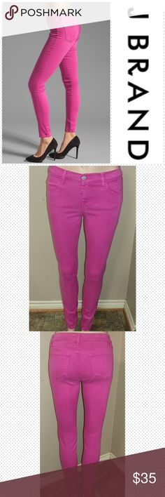 """J Brand Super Skinny size 26 J Brand Super Skinny size 26, inseam 31"""", rise 8"""", waist laid flat 13.5"""". Wash Magenta. Great condition. First picture for reference. J Brand Jeans Skinny"""