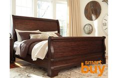Brown Hadelyn Queen Sleigh Bed View 1