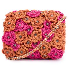 Ruche & Hues Floral Crystals Raffia Baguette Pink/Orange ($383) ❤ liked on Polyvore featuring bags, handbags, clutches, red clutches, floral print handbags, studded clutches, floral handbags and pink clutches