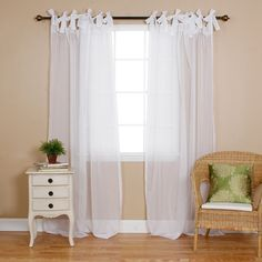 """Best Home Fashion Sheer Voile Curtains - Tie Top - White - 56""""W x 84""""L"""