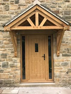 An Irish Oak English Cottage. Rockdoor manufacture the most secure uPVC Composit. Oak Front Door, Wooden Front Doors, Oak Doors, Cottage Porch, Cottage Exterior, House With Porch, House Front, Door Canopy Porch, Patio Canopy