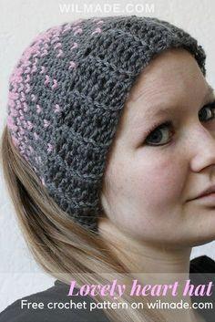 Lovely Heart Hat , Free crochet pattern. Cappelli All\u0027uncinettoModello