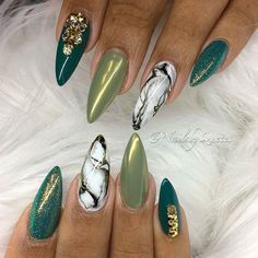 Almond all shades of green shimmery nail design with gold stones and marble! Beautiful nails by  @nailsbyquetel  Ugly Duckling Nails page is dedicated to promoting quality, inspirational nails created by International Nail Artists  #nailartaddict #nailswag #nailaholic  #nailart  #nailsofinstagram  #nai