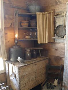 Sweet Liberty Homestead primitive wall shelf, lighting and bowl rack. We LOVE primitives! Come follow us at ( Shannon McConnachie ) as we're gearing up to make primitives again! We're super excited!