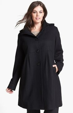 DKNY 'Baby' Wool Blend Coat with Detachable Hood (Plus Size) available at #Nordstrom