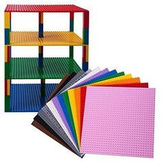 Premium Rainbow Stackable Base Plates - 12 Pack x Baseplate Bundle with 240 Bonus Building Bricks (LEGO® Compatible) - Tower Construction Lego Projects, Projects For Kids, Lego Duplo, Legos, Lego Display, Lego Bedroom, Lego Activities, Lego Table, Lego Storage