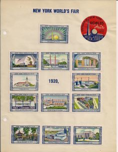 Poster Stamps New York World's Fair 56 Stamps 1939 Affixed Hotel Lincoln | eBay