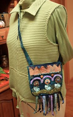 Cross Body Hand Embellished Small Fabric by MulberryPatchQuilts