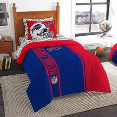 NFL Bills Comforter Sheets Twin Set Blue Red Football Themed Bedding Sports Patterned Team Logo Fan Merchandise Athletic Team Spirit Fan Polyester Unisex