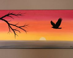 Original Abstract Acrylic Painting on Canvas Set Free Eagle Sunset Tree Branch Ombre Yellow Orange Red Silhouette Bird Flying Warm Summer