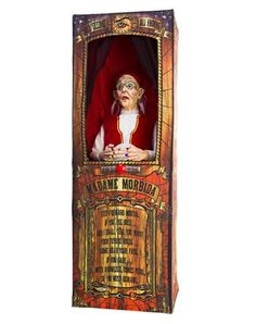 Misfortune Teller Animated Decoration only at Spirit Halloween - Beware of what you wish for when you decorate your haunted carnival scene with this Misfortune Teller Animated Decoration. The two faced gypsy speaks creepy sayings and fortunes to those who ask for her expertise! Get this one of a kind prop for $229.99.