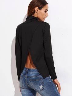 Shop Black Cowl Neck Split Back T-shirt online. ROMWE offers Black Cowl Neck  Split Back T-shirt   more to fit your fashionable needs. ba3cbb6b0