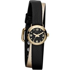 Marc by Marc Jacobs MBM1257 Women's Dinky Wraparound Leather Strap... ($105) ❤ liked on Polyvore featuring jewelry, watches, accessories, bracelets, black, leather-strap watches, wrap around wrist watch, yellow gold jewelry, marc by marc jacobs jewelry and wrap watches