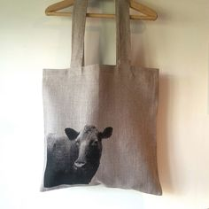 Hand printed linen tote with cow by StrandRedesign on Etsy