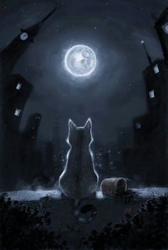 "Sort of like the beginning of my next tattoo.  I want the back of a black cat, representing Jinx looking out a window like this but at the setting sun, rising moon and stars for ""The Sun, Moon and Stars"" song by Prince.  I definitely want colors as well."