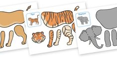 Split Pin Animal Characters. Lion, tiger, elephant, horse and bear. Free!
