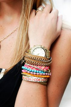 NYC #streetstyle bracelets from #Madewell, Wink, and H & M, #MichaelKors watch,