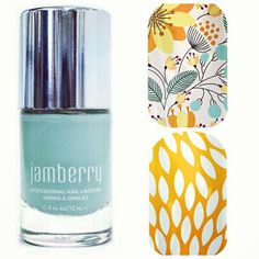 Jamberry Mint Green Lacquer paired with Sunny Lotus and Sweet Whimsy www.pennyspore.jamberrynails.net