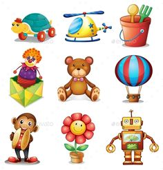 Buy Toys by interactimages on GraphicRiver. Illustration of different kind of toys