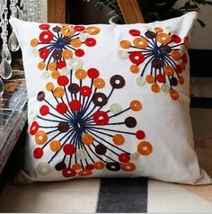"This pillow cover is embroidered in vibrant colors and patterns. Any room decorated in a boho style must have one of these eye catching pillows. Inner pillow form not included. Purchase the pillow form to go inside of this pillow cover HERE. Removable and Washable, zipper closure 100% Cotton Embroidered Size: 45x45cm, 18""x18"" Please allow for 14-23 days for processing and shipping."