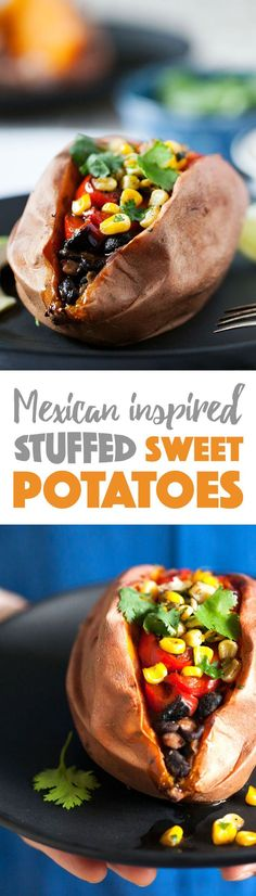 A healthier take on a baked potato! Perfectly baked sweet potato stuffed with Mexican-inspired fixings. Features spiced black beans, caramelized peppers and onions, and topped with quick-jalapeno saut (Vegan Gluten Free Stuffing) Mexican Food Recipes, Whole Food Recipes, Vegetarian Recipes, Cooking Recipes, Healthy Recipes, Drink Recipes, Good Food, Yummy Food, Gula