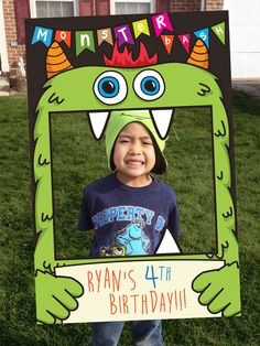 This Monster Bash Themed Photo Booth is great for any monster themed birthday parties. This party prop can also be used for any events and functions! Happy 4th Birthday, Birthday Themes For Boys, Boy First Birthday, Birthday Party Themes, Birthday Ideas, Monster 1st Birthdays, Monster Birthday Parties, Ballon Party, Halloween Birthday