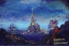 """Distant Silver Castle"" By Harrison Ellenshaw - Original Acrylic on Canvas, 4 x 6.  #Disney #DisneyFineArt #HarrisonEllenshaw"