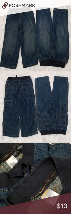 Gymboree pull up denim jeans Gymboree pull up denim jeans 2 front and 2 rear pockets, plus cute carpenter pocket detailing Preowned but hardly worn and no signs of wear, stains or damage This listing is for both pairs 100% cotton Made in Bangladesh Gymboree Bottoms Jeans