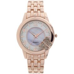 Womens Crystal-Accent Butterfly-Trim Rose-Tone Bracelet Watch ($15) ❤ liked on Polyvore featuring jewelry, watches, rose jewelry, monarch butterfly jewelry, geneva watches, white bracelet watch and white dial watches