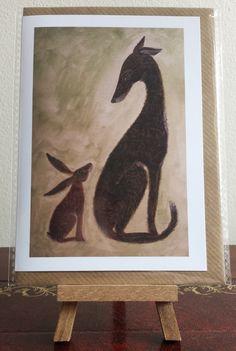 Hare and Hound Blank Art Greeting Card by Deborah Sheehy ~ HoneybeeandtheHare