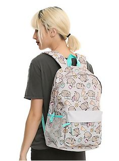 """Chillin' and snackin' - it's what Pusheen does! You can too. Just load up this backpack with your favorite treats, and hurry home to your video games and TV shows. Should you also order a pizza? Why not. Wait, what were we talking about? Oh yeah, this sweet backpack. It features a tech sleeve, water bottle pockets, padded back & adjustable straps,  front zipper pocket (with pizza zipper pull), zipper closure and web haul loop.<ul><li style=""""list-style-position: inside !important; list-style-"""
