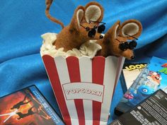 Felt Mice in Popcorn Box decoration  soft sculpture by joycemac634, $16.50