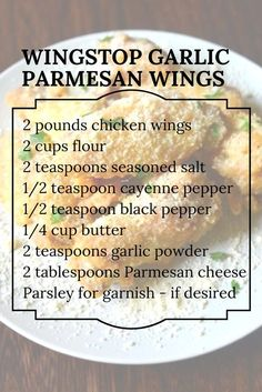 Delicious Garlic Parmesan Wing Recipe from Wingstop! Great seasoning for chicken that you should try tonight Delicious Garlic Parmesan Wing Recipe from Wingstop! Great seasoning for chicken that you should try tonight Garlic Parmesan Wing Sauce, Chicken Parmesan Recipes, Chicken Wing Recipes, Garlic Parmesean Wings, Air Fryer Recipes Chicken Wings, Best Chicken Wing Recipe, Garlic Wings, Garlic Recipes, Appetizers