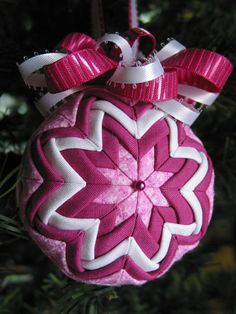 Raspberry and White Quilted Christmas Ornament