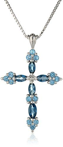 "Sterling Silver Blue Topaz Cross Pendant Necklace, 18"" Amazon Collection http://www.amazon.com/dp/B005WZZFKS/ref=cm_sw_r_pi_dp_mD1uvb12ZZJK7"