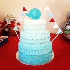 Elephant, ombré fondant Christening cake