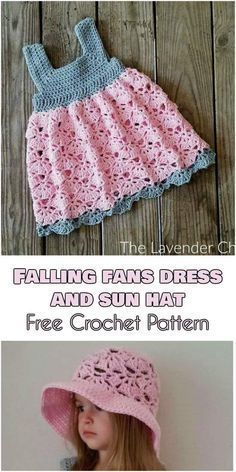 Crochet Baby Girl Falling Fans Dress and Sun Hat [Free Crochet Pattern] Crochet Baby Dress Free Pattern, Crochet Dress Girl, Baby Girl Crochet, Crochet Baby Clothes, Crochet Baby Hats, Crochet For Kids, Baby Knitting, Knit Crochet, Crochet Patterns