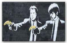 Banksy Pulp Fiction Canvas Print   Modern Canvas Art