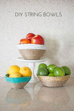 DIY String Bowls by @Amy / Homey Oh My! | Bowls made with jute and mod podge | Jute projects | Mod Podge projects