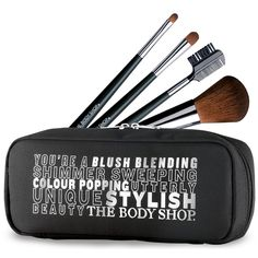 ON SALE! Body Shop Makeup Brush Set NOW $25.00 REG. $50.00 Synthetic/Cruelty Free! The soft, synthetic fibers distribute just the right amount of pigment for a perfect result every time. This set includes a stylish black pouch to keep the brushes clean and organized. Face & Body Brush Lip Brush Eyeshadow Brush Eyebrow Brush
