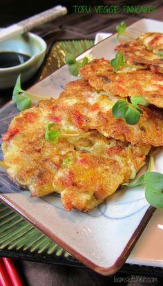 Tofu Veggie Pancakes Healthy World Cuisine - Tofu Rezepte Tofu Recipes, Asian Recipes, Vegetarian Recipes, Healthy Recipes, Vegetarian Dim Sum, Vegetarian Dish, Vegetarian Cookbook, Free Recipes, Cookie Recipes