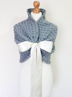 BRIDAL Bridesmaid Wrap Shawl Stole WEDDING Bolero SHRUG Bridal Cape Crochet Wrap Bolero Jacket Gray Wedding Shawl  Capelet