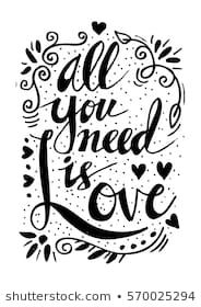Poster With Lettering All You Need Is Love Gluckwunsche