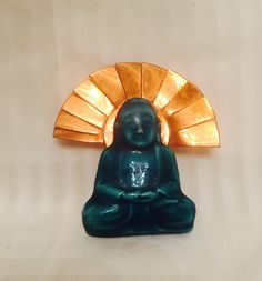 Vintage Copper and Jade Ceramic Budha Brooch by GulfCoastAntique