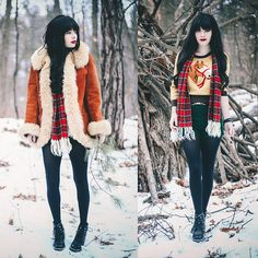 Coat, Old Hollywood Horse Sweater, Vintage Plaid Scarf