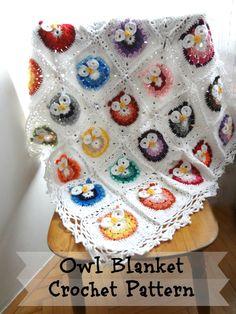 Owl Crochet Baby Blanket PDF pattern,photo tutorial, crochet owl pattern, crochet owl, colorful blanket, baby blanket, afghan, heirloom