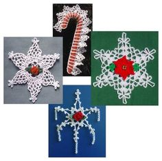 Thread Ornament Set 2 Crochet Pattern These dainty snowflakes and candy cane cover make wonderful gifts and decorations. Hang them on in a window or on your tree, enclose them in a letter or give as a
