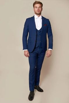 Click here to discover our collection of Men's 3 Piece Suits. Browse our vintage inspired designs in a variety of prints, colours & materials. Shop today! Black Three Piece Suit, Black And Grey Suit, Classic Blue Suit, Classic Blues, Classic White Shirt, Mens 3 Piece Suits, Double Breasted Waistcoat, Childrens Shop, Plain White Shirt