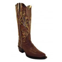 Ferrini Ladies Brown Cowhide Boots V-Toe 81061-10
